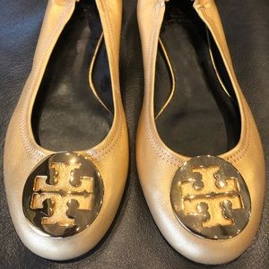 Tory Burch Gold Flats with Gold Logo